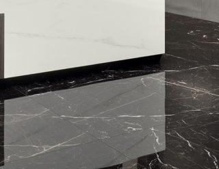 zwarte marmerlook tegels met witte ardes 60x120 cm