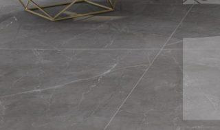 woonkamer tegels hoogglans vloertegels grijs marmerlook groot formaat 120x120 cm Nav 1