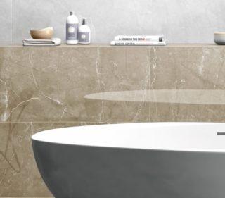 badkamer wandtegels marmerlook bruin beige 75x75 cm