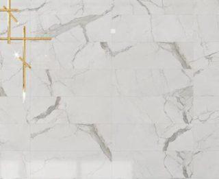Hoogglans vloertegel 75x75 cm Statuario Marmerlook Wit C20 ook als wandtegels te gebruiken
