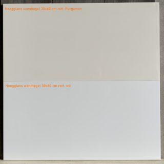Hoogglans wandtegel 30x60 cm gerectificeerd Pergamon en Wit Glans kleur vergelijking