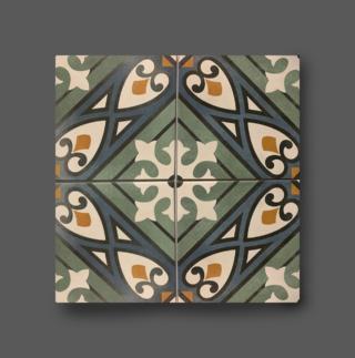 Vloertegel 15×15 cm bloemen patroon blauw groen A153 voor de vloer en wand