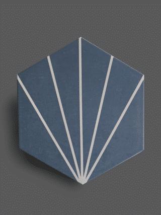 Vloertegel 23×26 cm Hexagon Streep Blauw A301 is geschikt op de vloer en wand