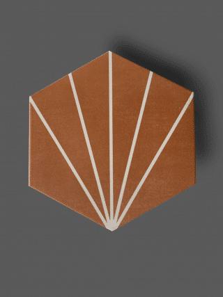 Vloertegel 23×26 cm Hexagon Streep Rood A313 is geschikt op de vloer en wand
