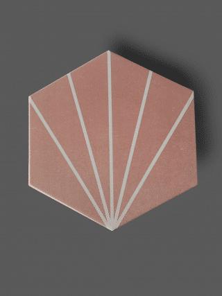 Vloertegel 23×26 cm Hexagon Streep Roze A311 is geschikt op de vloer en wand