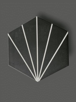 Vloertegel 23×26 cm Hexagon Streep Zwart A315 is geschikt op de vloer en wand