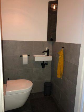 Vloertegel 30×60 cm Betonlook Ariel Antraciet NR 20 als toilet wand.