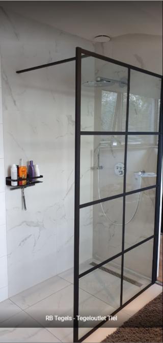 Vloertegel 60×60 cm Statuario Marmerlook Mat Wit C20 in de douche als vloer- en wandtegels te gebruiken
