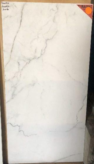 vloertegel 60x120 marmerlook wit met grijze en bruine adders mat wit