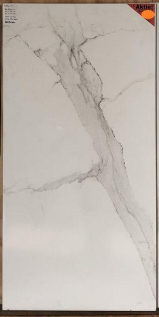 vloertegel 60x120 cm marmerlook wit met grijze adders