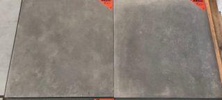 Vloertegel 60x60 cm Taupe Grijs Betonlook toscane nr 26 op de vloer