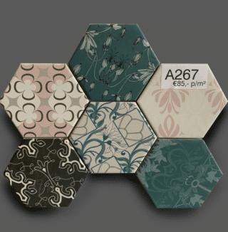 Wandtegel 10×11 cm Hexagon Mix Kleuren A267 Is geschikt voor in de badkamer, de keuken of het toilet