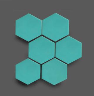 Wandtegel 10×11 cm Hexagon Turquoise A266 Is geschikt voor in de badkamer, de keuken of het toilet