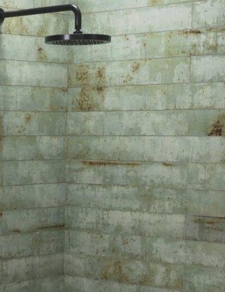 Wandtegel 10x40 cm groen roest A91 voor keuken, toilet en badkamer