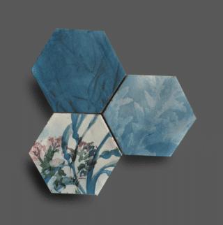 Wandtegel 13,9x16 cm Hexagon Ecoline blauw A190 Is geschikt voor in de badkamer, de keuken of het toilet