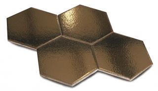 Wandtegel 15×17 cm Hexagon wandtegel martini goud D3 is geschikt voor in de badkamer, keuken of toilet. Deze gouden hexagon tegels zorgen voor een luxe effect in de ruimte.