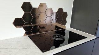 Wandtegel 15×17 cm Hexagon martini goud achterwand fornuis D3