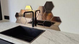 Wandtegel 15×17 cm Hexagon martini goud achterwand keuken D3