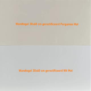 Wandtegel 30×60 cm pergamon mat gerectificeerd met mat wit.