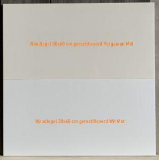 Wandtegel 30x60 cm gerectificeerd Pergamon Mat en Wit Mat kleur vergelijking