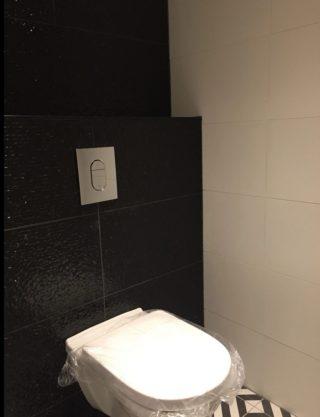 Wandtegel 33x65 cm shine zwart op het toilet