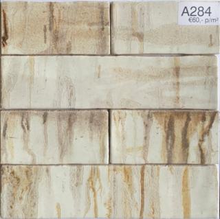 Wandtegel 7.5x30 cm Beige Bruin A284 voor badkamer, keuken en toilet.