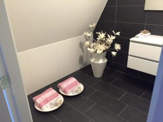 vloertegel 30x60 cm zwart antraciet gebruikt als badkamer vloertegels