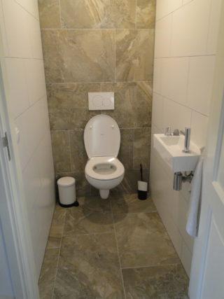 vloertegel 45×65 cm Bruin Grijs H38 op het toilet geplaatst