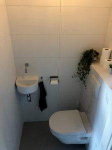 wandtegel 30x60 cm gerectificeerd mat wit in het toilet gelegd